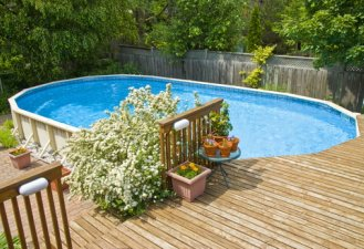Oval Above Ground Swimming Pool With Deck